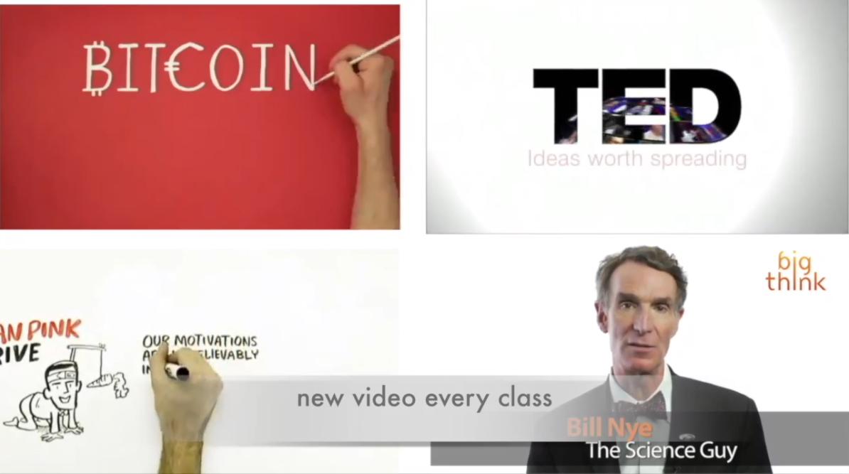 Nuestros clases de conversación se aprovechan de una variedad de videos